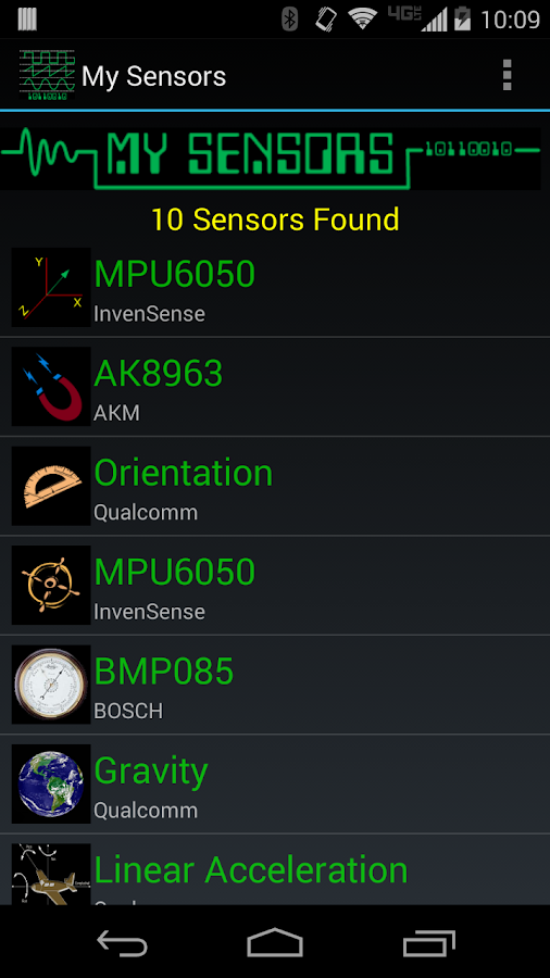 My Sensors- screenshot