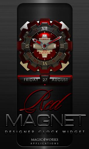Red Magnet Clock Widget