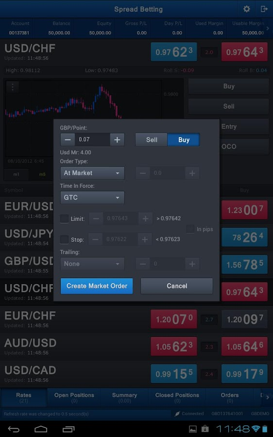 Spread Betting for Tablet- screenshot