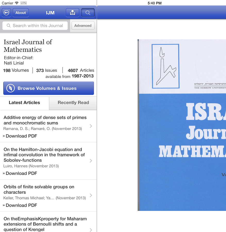 Israel Journal of Mathematics- screenshot