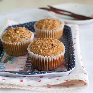 Raisin-Oatmeal-Peanut Muffins with Peanut Butter Swirl.