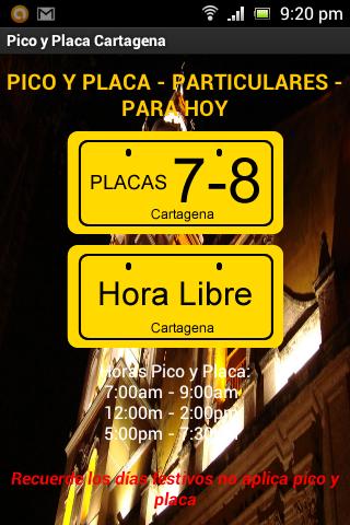 Pico y Placa Cartagena
