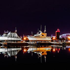The Blatnik Bridge  by Tammy Drombolis - City,  Street & Park  Night ( water, device, transportation,  )