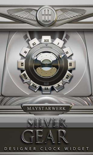 Clock Widget Silver Gear