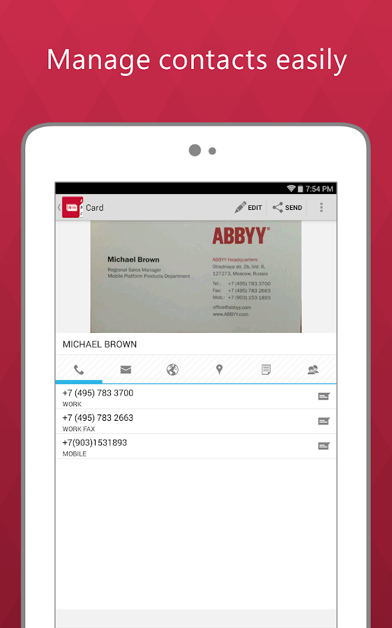 Business Card Reader Pro - screenshot