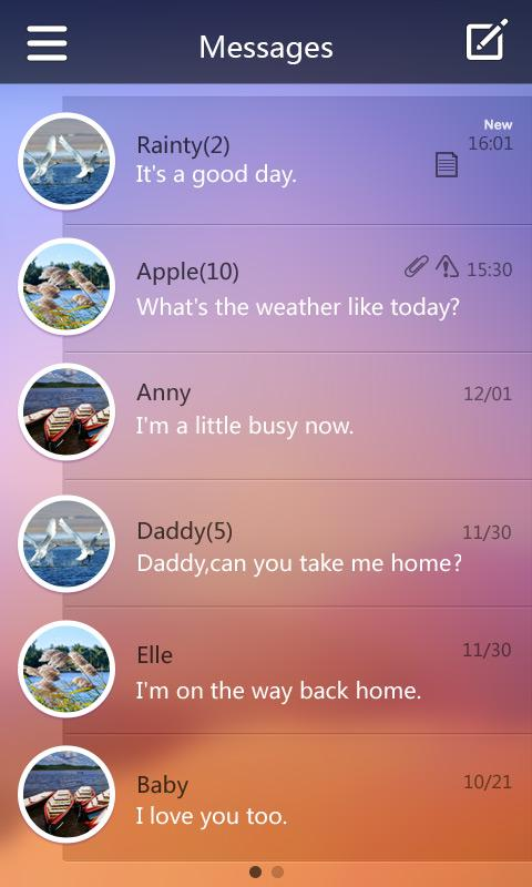 GO SMS Pro Ease Theme EX - screenshot