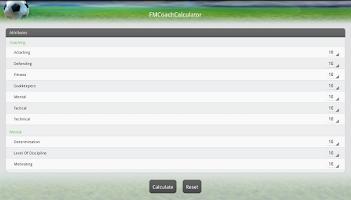 Screenshot of FM Coach Calculator