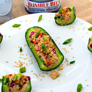 Asian Tuna Salad Cucumber Boats