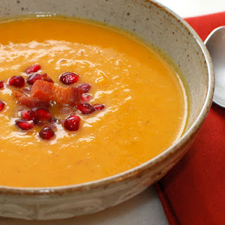 Butternut Squash Soup with Pancetta and Pomegranate