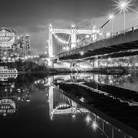 Reflection | noitcelfeR by Jeremy Jordan - Buildings & Architecture Bridges & Suspended Structures ( reflection, minnesota, beer, black and white, minneapolis, long exposure, bridge, mississippt river, nightscape,  )