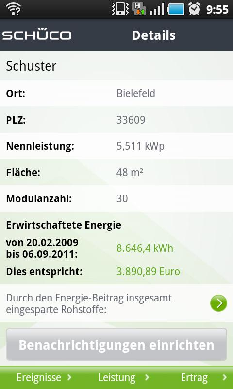 Schüco Sunalyzer App - screenshot