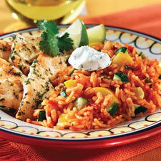 Cilantro Chicken With Zucchini Spanish Rice.