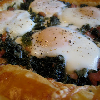 Maple-Balsamic Kale and Egg Brunch Tart With Canadian Bacon and Sharp White Cheddar.