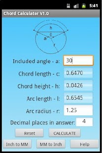 Chord Geometry Calculator - screenshot thumbnail