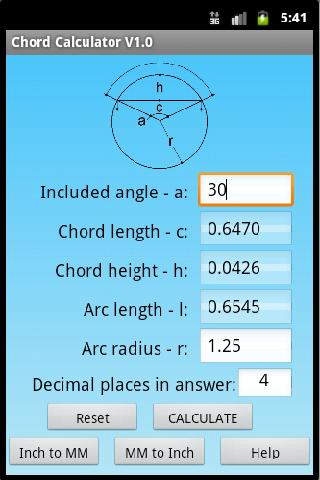 Chord Geometry Calculator- screenshot