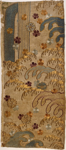 Fragment of a Kimono (Kosode) with Design of Waterfall, Waves and Cherry Blossoms