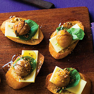 Chestnut and Sharp Cheddar Crostini