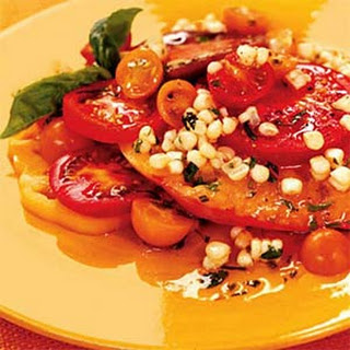 Sliced Tomatoes with Corn and Basil