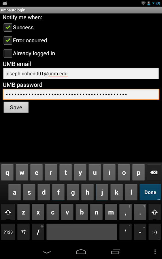 Umass Boston Wifi Autologin- screenshot