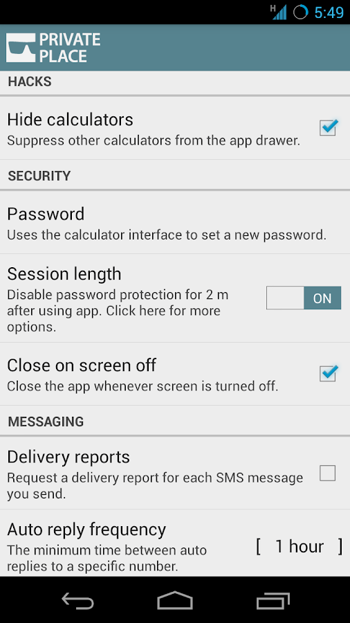 Private Place SMS MMS CALLS - screenshot