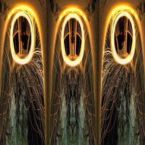 Gazebo fantasy by James Rudick - Abstract Light Painting ( fantasy, winter, steel wool, polar projection, digital, gazebo )