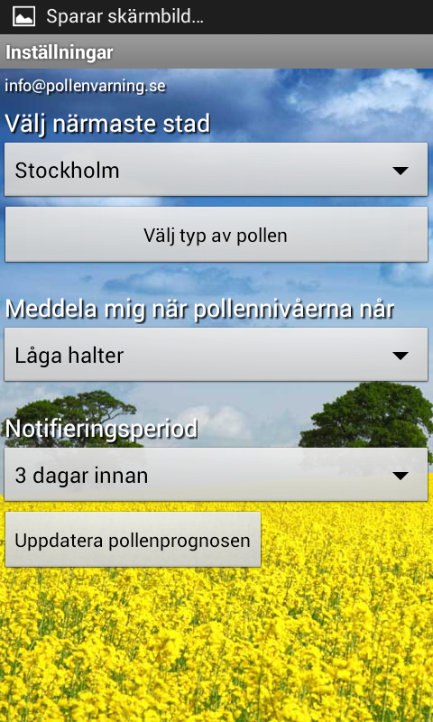 Pollen allergy warning Sweden- screenshot