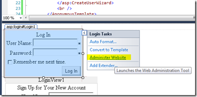 Administer Website method of creating ASPNETDB.MDF