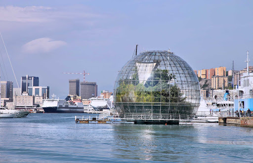 biosphere-genoa-italy - A giant biosphere in the port of Genoa created by famed Italian architect Renzo Piano.