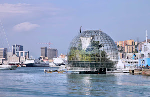 A giant biosphere in the port of Genoa created by famed Italian architect Renzo Piano.
