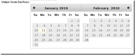 jQuery UI DatePicker – Display Multiple Months