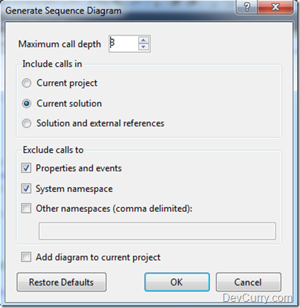 Generate Sequence Diagrams in Visual Studio 2010 Ultimate