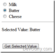 DevCurry: Get Selected Value of Radio Button using a Single