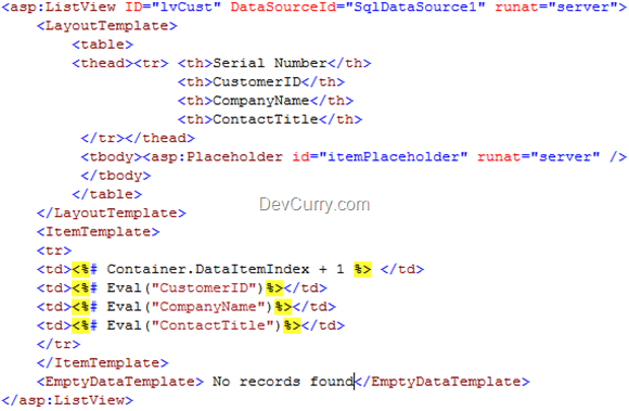 DevCurry: Auto Generate Row Number in ASP NET ListView