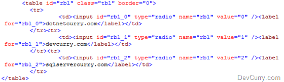 DevCurry: Selected Value of ASP NET RadioButtonList using jQuery