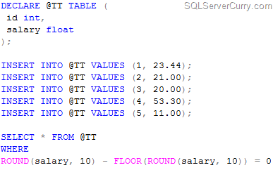 sql nonround numbers