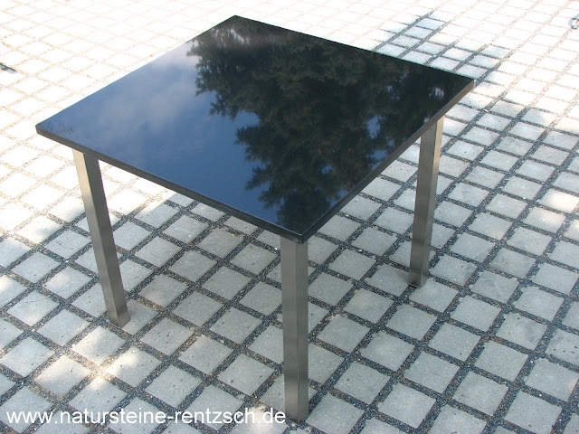tisch k che 60 60 edelstahl granit k chentisch esstisch schwarze granitplatte ebay. Black Bedroom Furniture Sets. Home Design Ideas