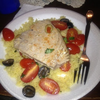 Pan-seared Tuna Steaks with tomato, basil and olive salad