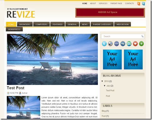 Revize Blogger Template