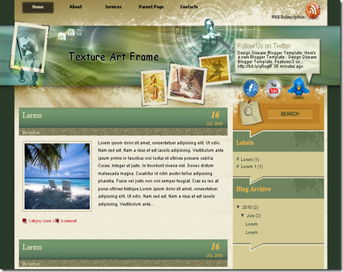Texture Art Frame Blogger Template