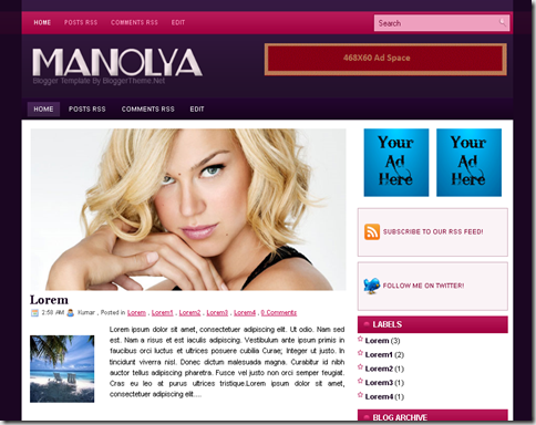 Manolya Blogger Template