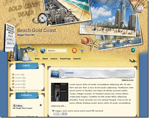 Beach Gold Coast Blogger Template