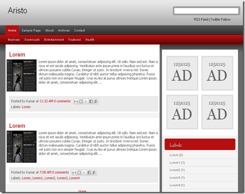 Aristo Blogger Template