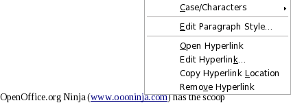 Screenshot: OpenOffice.org 3.1 new feature to open, edit, copy, or remove hyperlink by right clicking on it