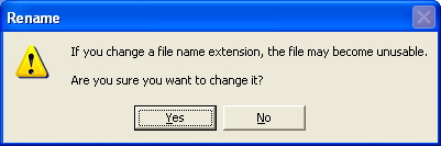 Screenshot: Windows XP: If you change a file name extension, the file may become unusable.  Are you sure you want to change it?