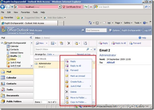 Attaching Emails In Owa 2010