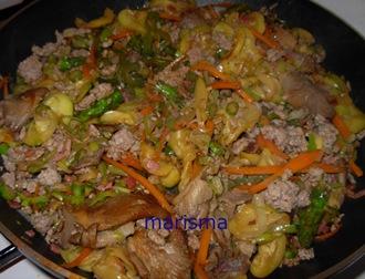 verdurada con carne picada, mezclacon la carne