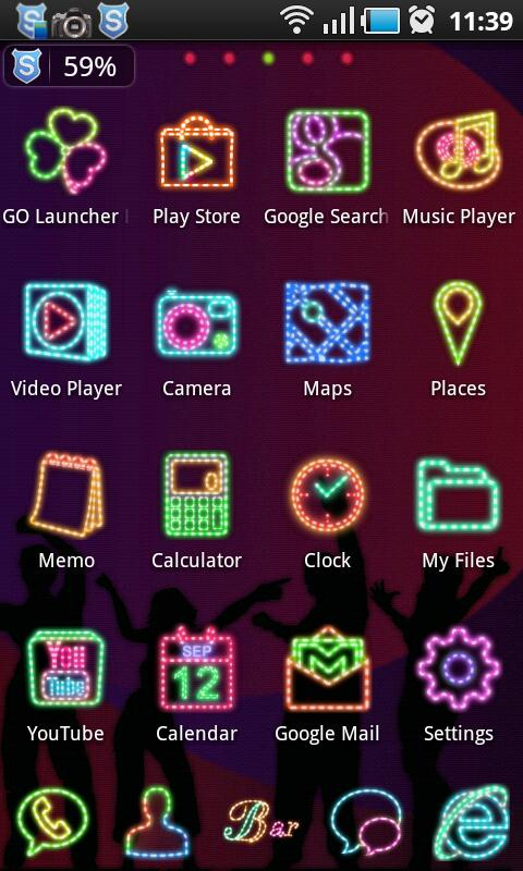 NeonLight Go Launcher Ex Theme - screenshot