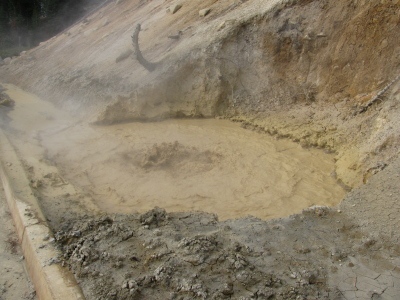 A boiling pool of mud by the road.