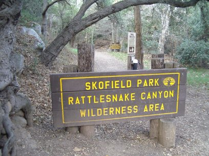 Sign starting the trail up Rattlesnake Canyon in Santa Barbara's front country.