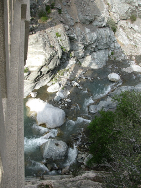 Looking down from the side of the bridge to where the bungee jumpers were jumping.